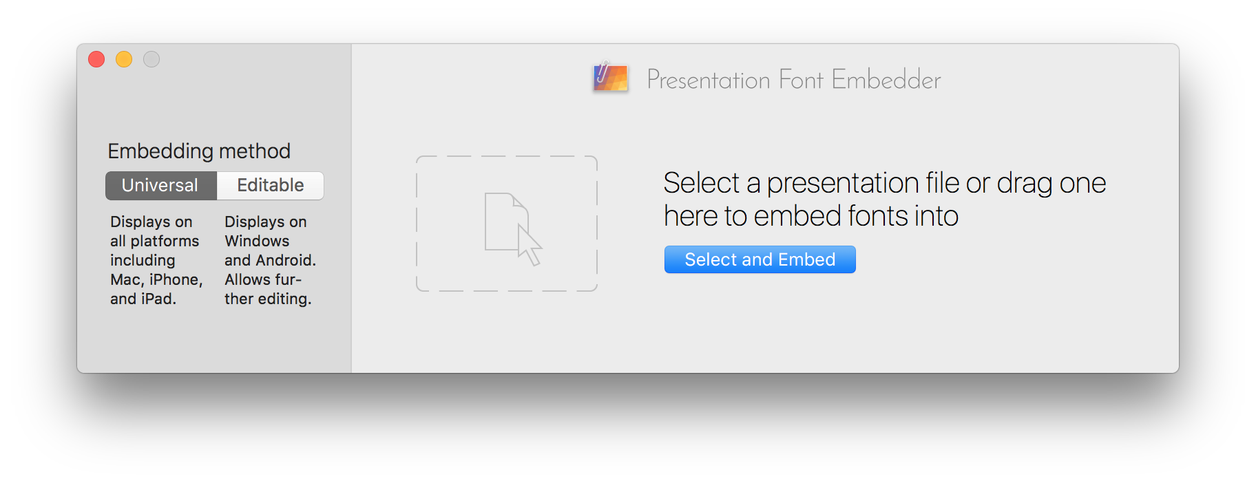 Presentation Font Embedder for Mac screenshot