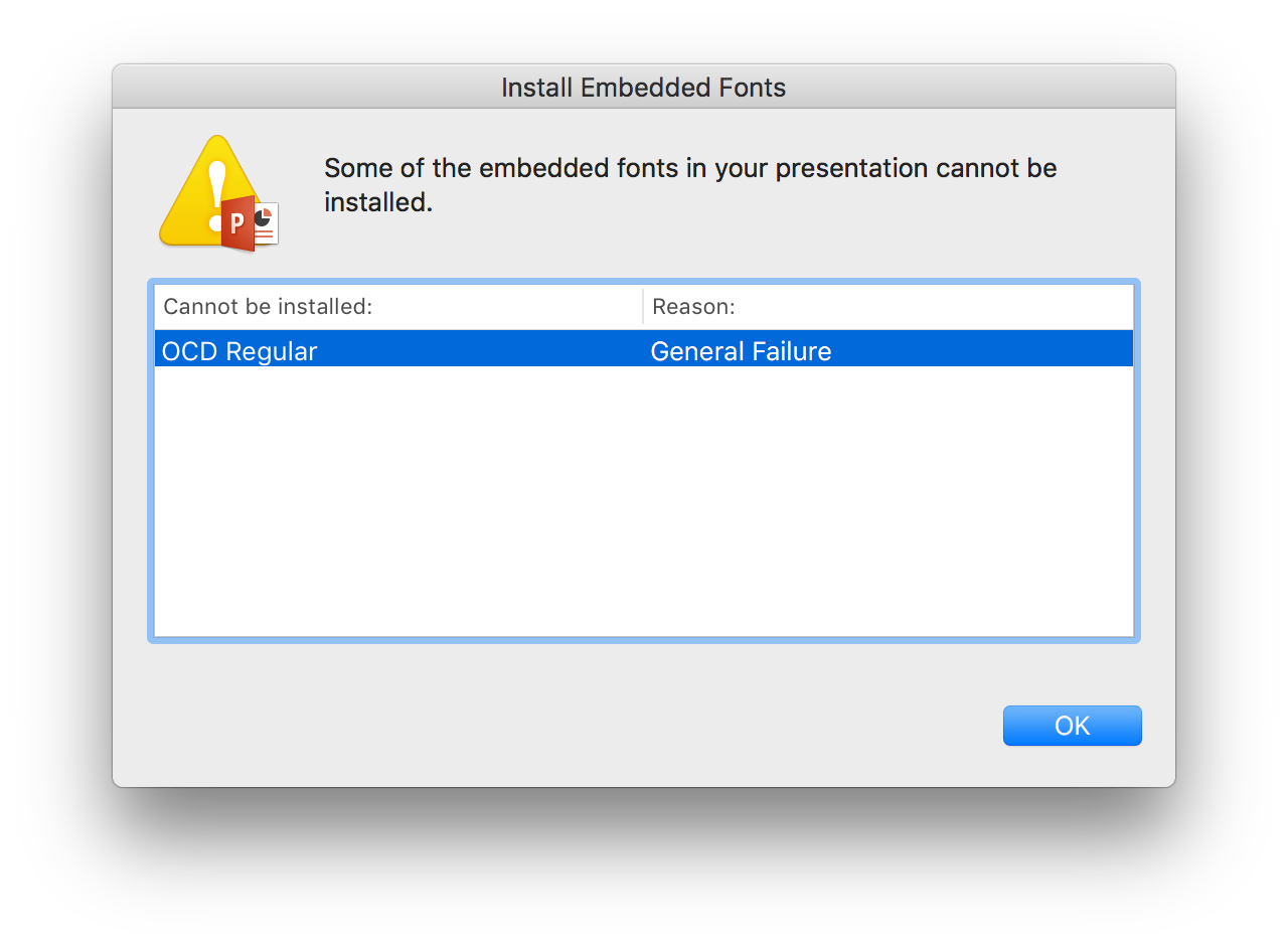 Install Embedded Fonts window screenshot with font not installed because of a general failure